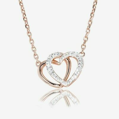 Swarovski® Crystals Rose Gold Finish Double Heart Necklace • 39.99£