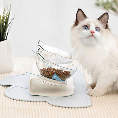 £8.29 • Buy Cat Double Bowls Pet Dog Food Water Bowl Feeder Dual Angle With Raised Stand UK