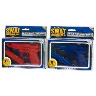 HTI Toys Swat Mission Die-cast Metal Cap Gun Pistol With Silencer • 8.27£