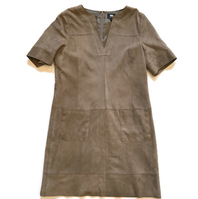 $ CDN161.05 • Buy W By Worth Leather Suede Dress Women's 8 Medium Short Sleeve V-Neck Brown Lined