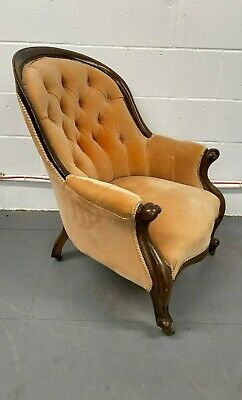 £250 • Buy 19th Century Mahogany Upholstered Buttoned Back Armchair Scrolled Cabriole Legs