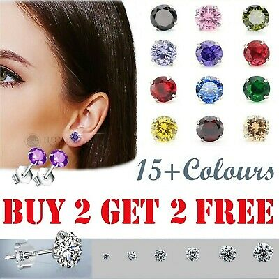 Womens Solid 925 Sterling Silver Cubic Zirconia Round Stud Earrings Colour Ear  • 2.99£