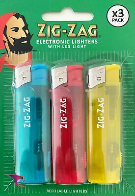 £2.99 • Buy Zig Zag Electronic Lighters With LED Light Refillable Lighters 3 In Pack