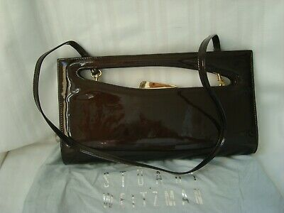 Suart Weitzman  From Russell & Bromley Women's Clutch Bag Patent Leather Brown • 25.84£