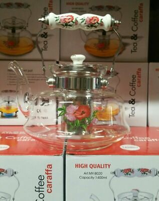 New High Quality Heat Resistant Glass Infuser Floral Tea Pot 1000ml To 1400ml • 15.99£