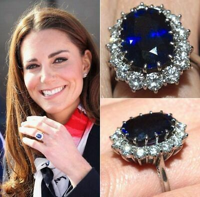 £204.10 • Buy Kate Middleton Inspired 2.20CT Sapphire Halo Engagement Ring In 14k White Gold