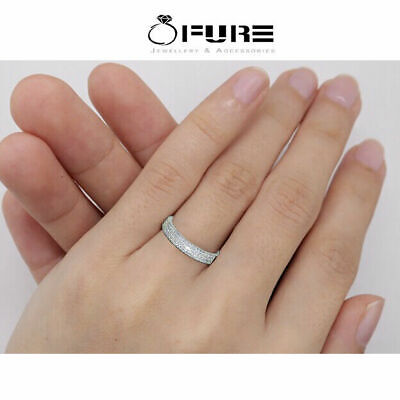 Round Cut 925 Sterling Silver Filled White Band Engagement Diamond Ring Women • 3.99£