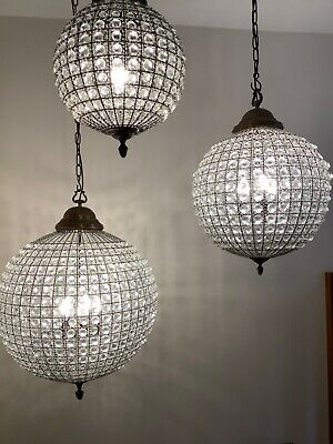 Set Of 3 Sphere Pendant Chandeliers • 300£