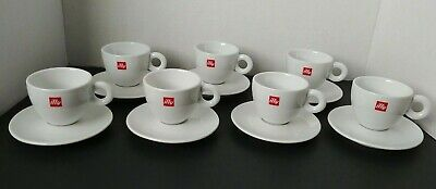 7 Sets Illy Red Logo Cappuccino Cup & Saucers  Restaurant Ware SPAL Portugal EUC • 31.46£