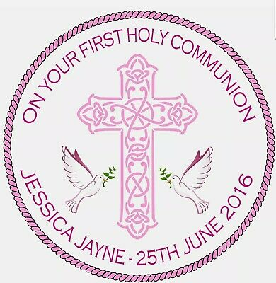 First Holy Communion Cake Topper Round Edible Decoration Personalised • 4£