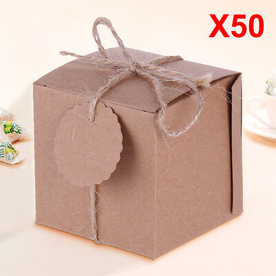 £6.75 • Buy 50 Eco Rustic Sweet DIY Wedding Party Candy Gift Boxes Natural Shabby Chic Kraft