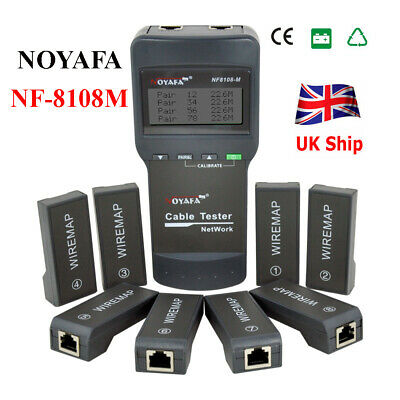 UK NOYAFA NF-8108M NetWork Lan Cable Tester Wire Length Tester 8 Remote Units • 46.99£