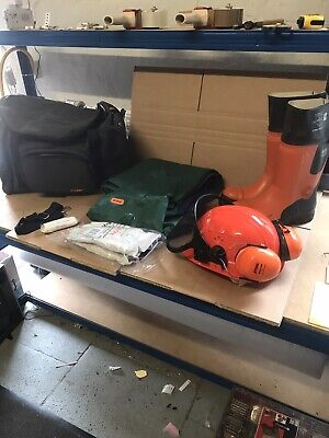 New Stihl Ppe Kit Rubber Chainsaw Boots, Helmet With Ear Defenders & S/M Chaps • 140£