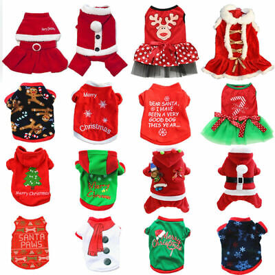 Pet Dog Cat Christmas Clothes Warm Hoodie Kitten Xmas Vest Costume Outfit XS - L • 4.69£