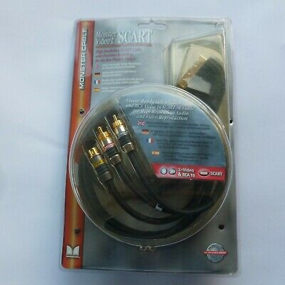 Monster Video 2 S-Video & 2x RCA To Scart Cable (Lead Audio AV) • 12.50£