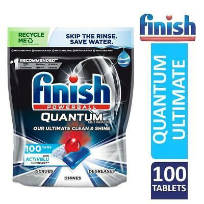 Finish Powerball Quantum Ultimate Dishwasher Clean & Shine Tablets Pack Of 100 • 17.49£
