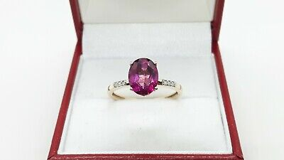 9ct Yellow Gold Cherry Topaz And Diamond Ring, UK Size N 1/2 • 148£