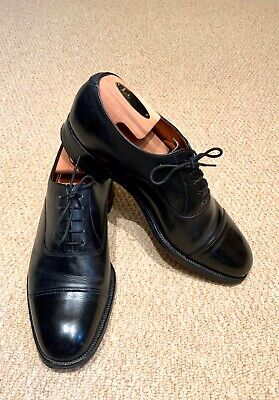 Sanders Black Cap Oxford Shoes UK 8M Goodyear Welted Leather Lace Up  • 39.99£