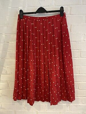 BEYOND RETRO Red Polka Dot Pleated Maxi Skirt 80's Size 10 • 14£