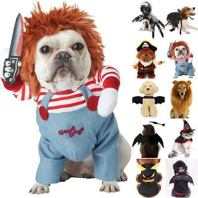£15.69 • Buy Halloween Scary Dog Cats Costumes Funny Pet Clothes Cosplay Fancy Outfits Set UK