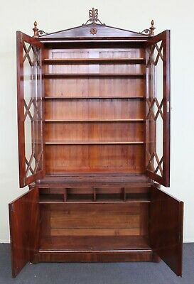 AU2800 • Buy Antique  Cabinet Bookcase Circa 1890 English Mahogany Mint Condition