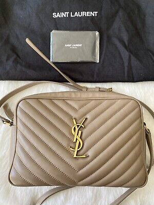 AU1490 • Buy Authentic Ysl Saint Laurent Lou Camera Bag In Nude/taupe Quilted Leather