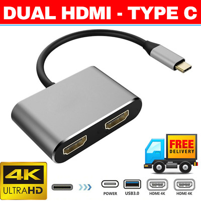 AU39.95 • Buy MIRROR Type C To DUAL HDMI Adapter 4K@60hz USB C Charge Port USB-C Converter
