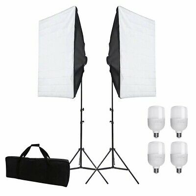 Photography Studio Softbox Lighting Soft Box Video Continuous Light Stand Kit • 36.99£