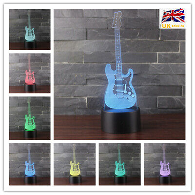 3D Electric Guitar Lamp Musical Instrument Touch Control LED Night Bedside Light • 11.99£