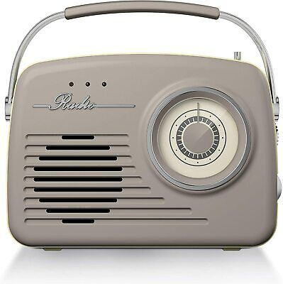 Akai Vintage Radio With AM And FM Radio Functions, Built-in USB, Taupe. • 57.99£