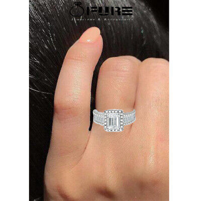Sparkling Square Zircon Ring Cubic Zirconia 925 Filled Sterling Silver Women  • 4.99£
