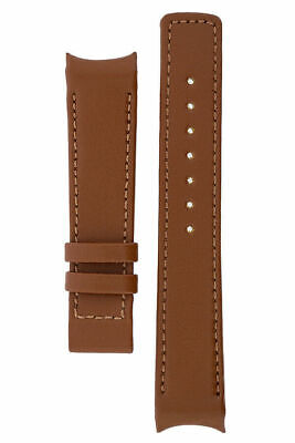 Hirsch OEM HEAVY CALF LEATHER CURVE ENDED DEPLOYMENT WATCH STRAP GOLD BROWN 22mm • 35£