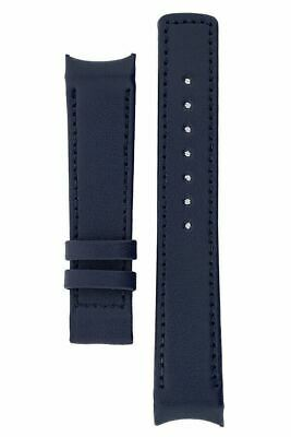 Hirsch MEDICI HEAVY CALF Curved Ended Watch Strap FOR DEPLOYMENT CLASP BLUE 22MM • 25£