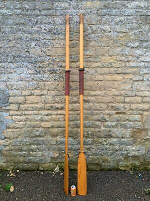 Vintage Wooden Rowing Boat Oars Paddles A Pair Large 224cm  Rowlocks  Free Post • 124.99£