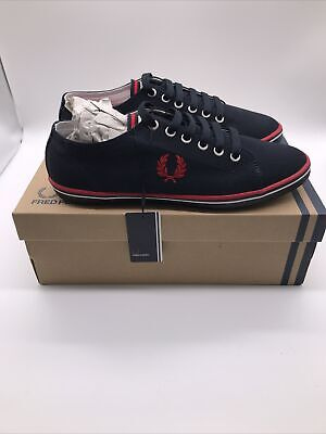 Fred Perry Kingston Twill Navy Blue Canvas Mens Logo Trainers Shoes UK 6.5 EU 40 • 34.99£