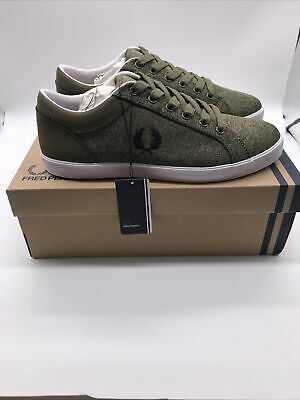 £29.99 • Buy Fred Perry Logo Baseline Bonded Marl Mens Burnt Olive Green Trainers Shoes UK 7