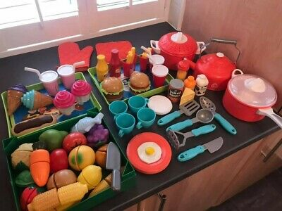 Huge Bundle Of Children's Play Food & Kitchen Accessories, Roll Play VGC, Xmas • 18£