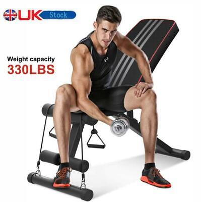 Adjustable Weight Bench Incline Decline Foldable Full Body Workout Gym Exercise • 59.99£