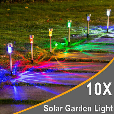 Pack Of 10 Stainless Steel Solar Powered Colour Changing Led Garden Patio Lights • 9.44£