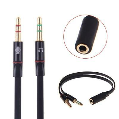 3.5mm Y Splitter 2 Jack Male To 1 Female Headphone Mic Audio Adapter Cable UK • 2.89£