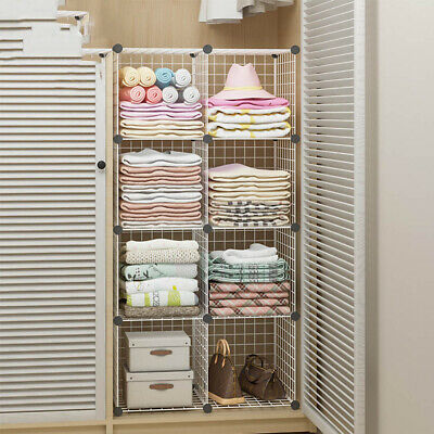 AU45.86 • Buy 8 Cube DIY Wire Grid Mesh Bookcase Storage Cabinet Organiser Display Rack