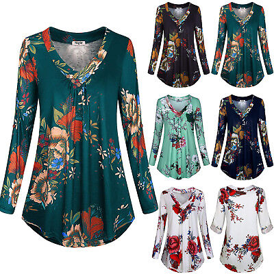 AU14.29 • Buy Plus Size Women's Floral V Neck Tunic Tops Long Sleeve Blouse Casual Tee Shirts