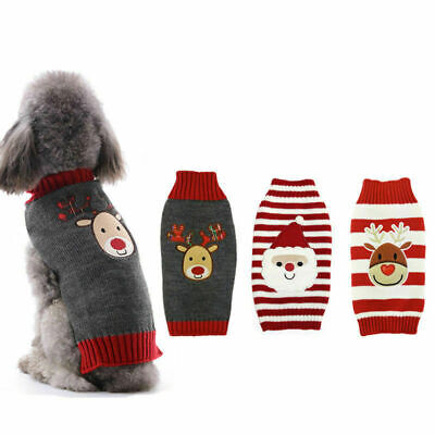£8.99 • Buy Christmas Pet Knit Clothes Puppy Dog Jumper Sweater Chihuahua Outfit Small Large
