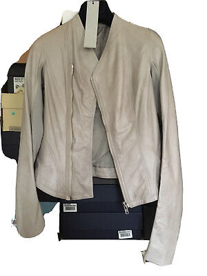 £180 • Buy RRP€1875 RICK OWENS Leather Jacket Size 40 / S Wool Rib Dirty Look Made In Italy