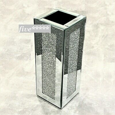 Beautiful Mirrored Vase Crushed Diamond Silver Crystal Decorative Vase Flower • 39.99£