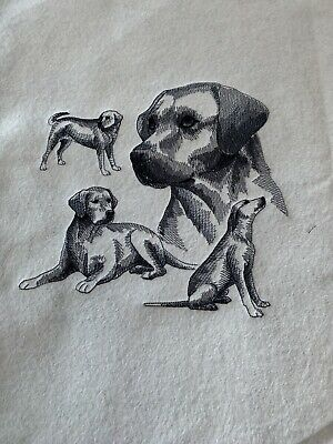 Labrador Retriever Dogs Embroidered Fabric Panel/Block/Remnant • 4.99£