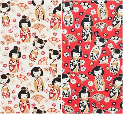 £4.45 • Buy Japanese Geisha Dolls 100% Cotton Poplin Fabric By Rose & Hubble Floral Fans