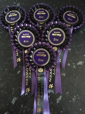 £8.50 • Buy Purple/Black 1st-6th 2 Tier Halloween Rosettes For Horse, Dog  Show 68mm Centres
