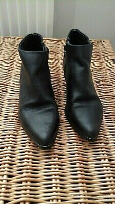 Red Herring Black Ankle Boots With Detail - Size 5 • 7.99£