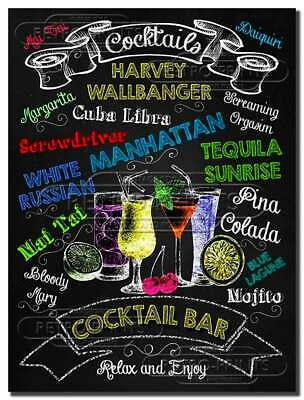 £4.95 • Buy Cocktail Bar Metal Wall Sign Art Plaque For Pub, Bar Man, Lady Cave, Kitchen NEW